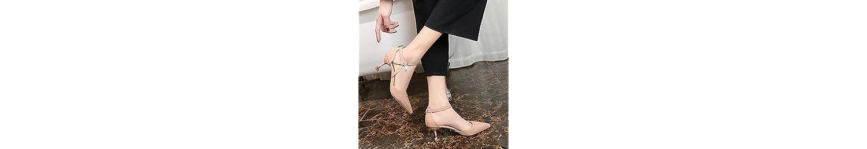 Xue Qiqi mujeres sandalias de punta fina con tacón alto de ranurado silvestres sujetadores, con zapatos de mujer... -