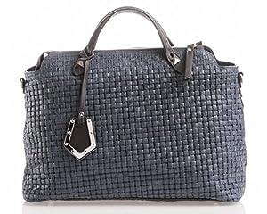 italienische Damen Handtasche Kingston aus echtem Leder in dunkel blau und mocca braun, Made in Italy, Shopper Bag 37x30 cm