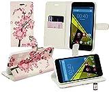 Emartbuy® Vodafone Smart Ultra 6 Premium Cuero PU Funda Wallet Soporte Carcasa Case Cover PU Cuero Rosa Blossom Con Tarjeta de Crédito Ranuras