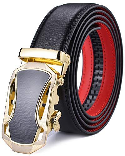DCFlat Men's belt, adjustable leather buckle with ratchet for large and tall men Black