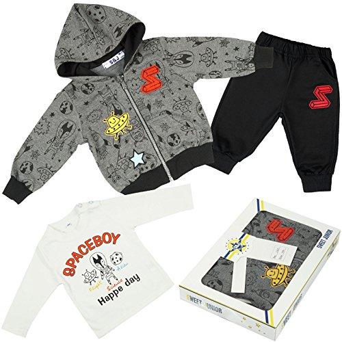 Kinder Baby Jungen Kleidung Geschenk Paket Set 3 tlg Sweat Jake Hose Lang Arm Shirt 21091, Farbe:Schwarz;Größe:9 Monate
