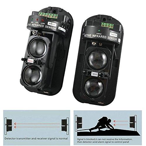 GuDoQi Detector IR de Seguridad de Doble Haz 100m Fotoeléctrico Alarma de Seguridad en el Hogar Detector de Infrarrojos Sensor