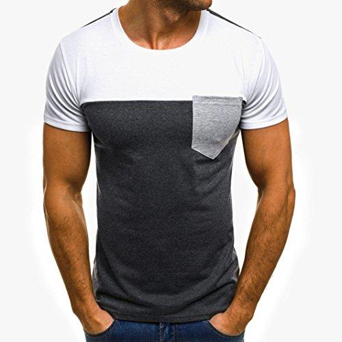 Preisvergleich Produktbild Herren Bluse Herren T-shirt, Beikoard Fußballweltmeisterschaft 2018 Männer Muskel T-Shirt Slim Casual Fit Kurzarm Patchwork Bluse oben Selbstkultivierung Lässig geschnittenes Kurzarm-T-Shirt Sportjacke (Weiß,  XL)