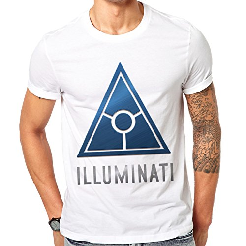 Illuminati Triangle Art Majestic Mechanic Logo Herren T-Shirt Weiß
