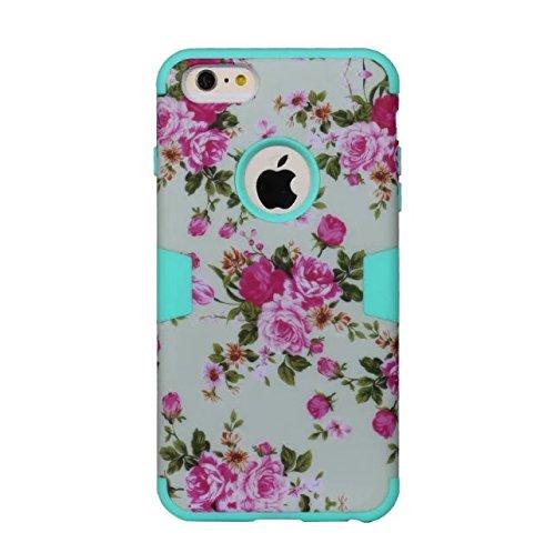 """iPhone 6 Plus Hülle,iPhone 6S Plus Hülle,Lantier Blumen Muster 3 in 1 hybride hohe Auswirkung schroff schockfeste schützende Fall Abdeckung für iPhone 6 Plus /6S Plus 5.5"""" Minze Grün+Rosa White+Cyan"""