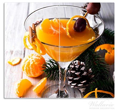 Wallario Herdabdeckplatte/Spritzschutz aus Glas, 2-teilig, 60x52cm, für Ceran- und Induktionsherde, Winterlicher Cocktail in orange