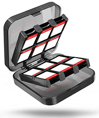 Fosmon Nintendo Switch 24-in-1 Game Card Case Organizer Hülle Gamekarten Tasche Schutzhülle Halter mit 23 Schlitze für Spiel Karten und 2 Schlitze für Micro SD / TF Speicherkarte (Transparente - Spielen Und überall Karte