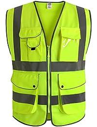 JKSafety Nueve bolsillos Nivel 2 Uniforme trabajo Chaleco con cremallera-Chaleco reflectante fluorescente-Chaleco de segurida (Large)