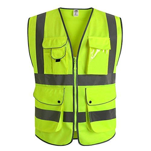 Preisvergleich Produktbild JKSafety Neun Taschen Unisex Hohe Sichtbarkeit Warnweste Reflektierende Weste Reißverschluss EN ISO 20471 Gelb (X-Large)