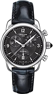 Certina Women's Quartz Watch with Black Dial Chronograph Display and Black Leather Strap C025,217,16,057,00 XS