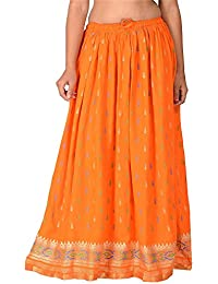 DIAMO Casual Rayon Printed Long Skirt (Size: Length- 39 Inches) Waist- Non Stretch- 26 X After Stretch- 42 Inches