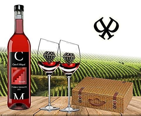 Das Wein-Geschenk für Mallorca-Liebhaber| Castell Miquel Rosado 'Stairway To Heaven'| Geschenk-Box Weidenkorb und zwei geschrägten Rotwein-Kelchen| Der Luxus-Wein für den Sommer| Der Mallorca