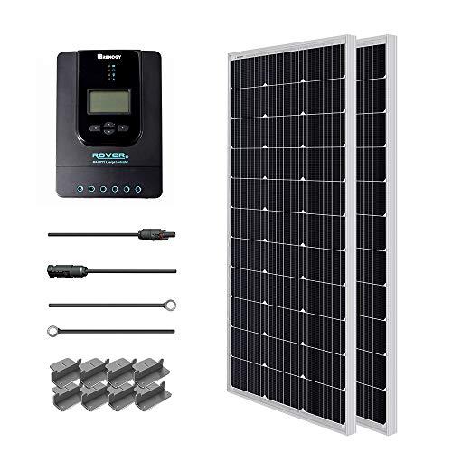Renogy 200W 12V Solarenergie Solarmodul Solaranlage 100Wx2 Solarpanel mit MPPT 40A Laderegler LCD Anzeige, ein paar Verbindungskabel und ein paar Batteriekabel für RV, Caranvan, Wohnmobil und Camper