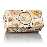 Rosenseife, rund 6 St 50g, handgemachte italienische Seife aus Fiorentino, mit dekorativer Prägung