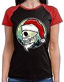HARIZ  Damen Baseball Shirt Weihnachten Totenkopf Mütze Weihnachten Xmas Schnee Winter Plus Geschenkkarten Black/Red M