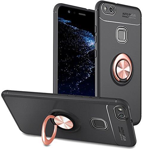 Slynmax Kompatibel mit Huawei P10 Lite Hülle Silikon,Huawei P10 Lite Handyhülle mit Ring Metall Ring360°Rotation Telefon Hülle Silikon Bumper Anti Fingerprint Soft Huawei P10 Lite,Schwarze Rosegold