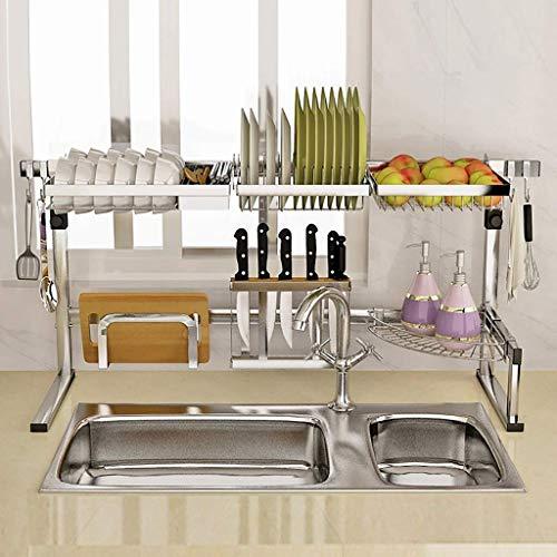 ACZZ Geschirrtrockner über Waschbecken, Abtropffläche für Küchenbedarf Aufbewahrungstheke Organizer (Waschbeckengröße & Le; 84 cm / 33,07 Zoll) - Wanne-geschenk-korb