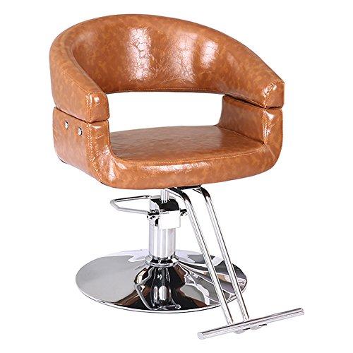 JPPBGY Mode-Schönheits-drehender Friseur-Stuhl, PU-Leder, entspannen sich das Bein, Friseursalon-Friseurstuhl JPPBGY (Farbe : Gelb, größe : 45-54cm)