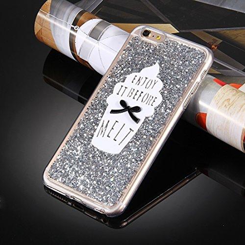 MXNET Case für iPhone 6 Plus & 6s Plus, Glitzer Powder Ice Cream Words Pattern Soft TPU Schutzhülle Holster iphone 6p/6s plus ( Color : Silver ) Silver