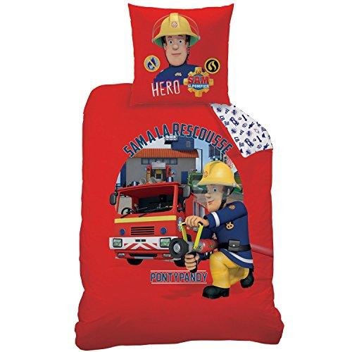 Decokids Sam Le Pompier - Parure de lit : Housse de Couette (140x200) + Taie d'oreiller (63x63) - 100% Coton -Fireman Sam