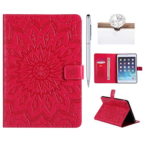 Felfy Ledertasche für iPad Mini,iPad Mini 2 Hülle Leder,iPad Mini 3 Case Rosa Rote Leder Elegante Retro Handyhülle Tasche Flip Cover Wallet Sonnenblume Prägung Muster Brieftasche -
