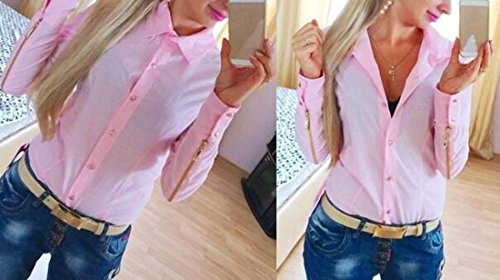 Polyester Col Carre Manches Longues Fermeture Eclair T-Shirt Mince Femmes Ol Chemise Chemisier Rose