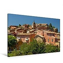 Calvendo Premium Textil-Leinwand 120 cm x 80 cm Quer, Roussillon - die Ockerstadt der Provence | Wandbild, Bild auf Keilrahmen, Fertigbild auf Echter Leinwand. Blauen Himmel Südfrankreichs Orte Orte