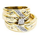 10kt Yellow Gold His & Hers Round Diamond Christian Cross Matching Bridal Wedding Ring Band Set 1/6 Cttw (I2-I3 clarity; J-K color)