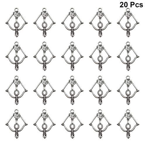 TENDYCOCO Legierung Bogen und Pfeil Anhänger Charms für DIY Schmuckherstellung 20pcs (Silber)