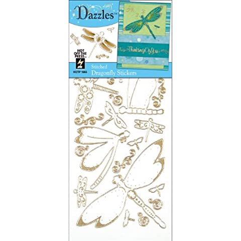 Dazzles Stickers, Gold Stitched Dragonfly by Hot Off The (Dragonfly 9 Accent)