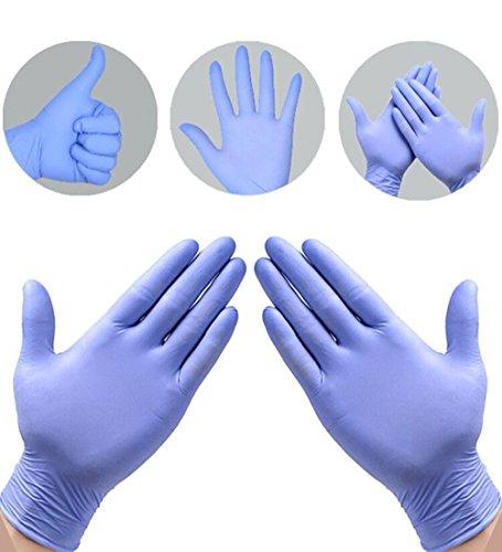 Nitrilhandschuhe 100 Stück mit Box (L, Blau) Einweghandschuhe Einmalhandschuhe Untersuchungshandschuhe,Nitril Handschuhe puderfrei ohne Latex unsteril latexfrei disposible