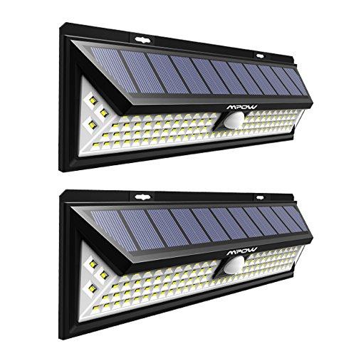 Mpow 102LED Luz Solar de Pared Brillante, Foco Solar Exterior, 3 Modos de Iluminación Opcionales, Panel Solar Grande, Luz Solar con Sensor de Movimiento,Ángulo de Detección de 120°,Gran Lampara Led Exterior Solar para Jardín, Calzada, Cercado, Garaje 2 Paquetes