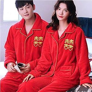 Kllomm Chinesische rote Hochzeit passendenpaarPyjama Set Dicke warmeNachtwäsche Anzug Langarm volle Hose Zweiteilige Pyjamas-A_Men_L