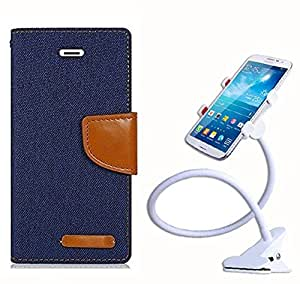Aart Fancy Wallet Dairy Jeans Flip Case Cover for HTC826 (Navy Blue) + 360 Rotating Bed Moblie Phone Holder Universal Car Holder Stand Lazy Bed Desktop by Aart store.