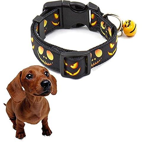 Collier Pour Chien Kolylong Halloween colliers cloche pour la décoration de festival animaux de compagnie de chien (S:2.5cm*23-32cm, citrouille)
