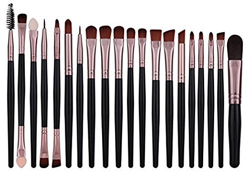 Cosmix Stores ™ Set Of 20,Eye Shadow Brush Set ,Black Rose Gold With Wooden Handle