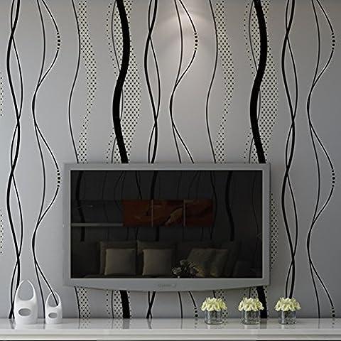 """GOMNEAR Wallpaper Roll Modern Luxus Schwarz Grau Wave Non-Woven Präge Wandgemälde Home Decor Designer Wand Papier 0.53m (20.8 """") * 10m (32.8"""
