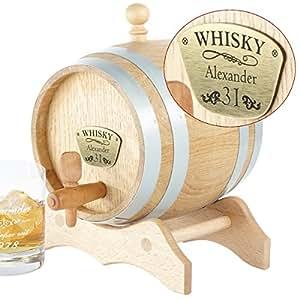 Geschenke 24: Whiskyfass mit Gravur - verschiedene Größen mit Gravurplakette - aus Eichenholz gefertigt (1 Liter)
