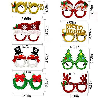 U&X Gafas de Fiesta con Purpurina navideña, anteojos de Disfraces de decoración navideña para favores navideños, niños y Adultos (9 Piezas)