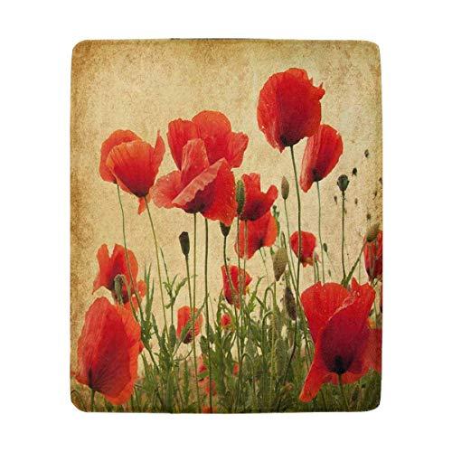 Mesllings Vintage Field of Mohnblumen-Decke aus Fleece, superweich, warm, leicht, für Couch, Sofa, 127 x 152 cm Vintage-olive Wood