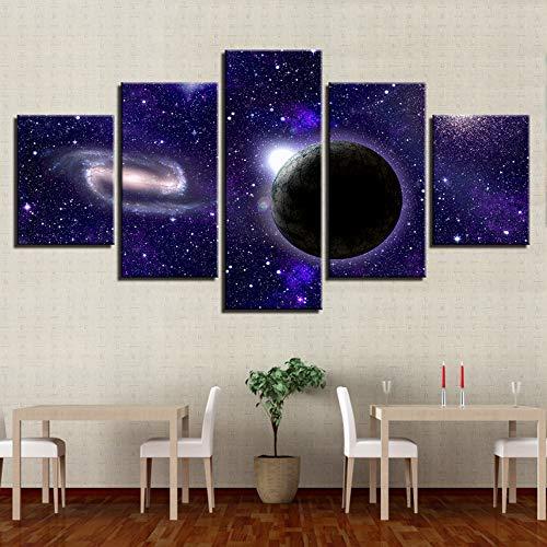 (Rjjdd Wohnzimmer Dekor Home Wandkunst Bilder Hd Drucken 5 Stücke Erde Planet Schöne Sternenhimmel Nachtsicht Modulare Leinwand Gemälde-20Cmx35,with Frame)