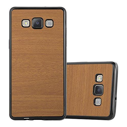 Preisvergleich Produktbild Cadorabo Hülle für Samsung Galaxy A5 2015 (5) - Hülle in Wooden BRAUN – Handyhülle aus TPU Silikon in Vintage Holz Optik - Silikonhülle Schutzhülle Ultra Slim Soft Back Cover Case Bumper
