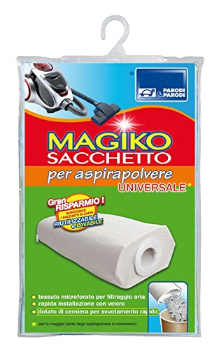 Parodi&Parodi Magiko Sacchetto Aspirapolvere Universale e Riutilizzabile, Polipropilene, Bianco, 13x24x1 cm