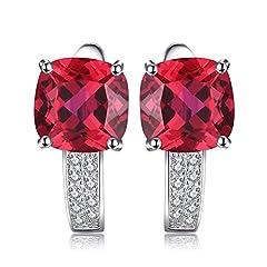 Idea Regalo - JewelryPalace Cuscino 4.6ct Sintetico Rosso Scuro Rubino Hoop Orecchini a Cerchio Argento Sterling 925