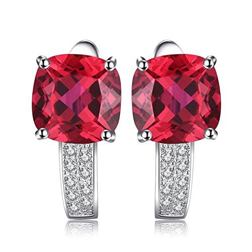JewelryPalace Cuscino 4.6ct Sintetico Rosso Scuro Rubino Hoop Orecchini a Cerchio Argento Sterling 925