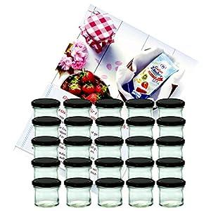 MamboCat 25er Set Sturzglas 125 ml Marmeladenglas Einmachglas Einweckglas to 66 schwarzer Deckel incl. Diamant-Zucker Gelierzauber Rezeptheft