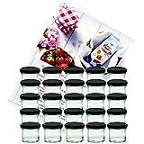 25er Set Sturzglas 125 ml Marmeladenglas Einmachglas Einweckglas To 66 schwarzer Deckel incl. Diamant-Zucker Gelierzauber Rezeptheft