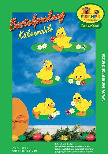 Fischer Fensterbild KÜKENMOBILE / Bastelpackung / Mobile / 40x60 cm / zum Selberbasteln / Basteln zu Ostern mit Papier und Pappe