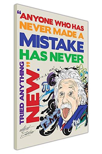 Pop-art-foto (Pop Art Leinwandbild, Kunstdruck Albert Einstein Tongue Out Fehler Zitat Bilder, canvas holz, violett, 07- 30