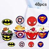 Topper per torta, motivo: supereroi (48 pezzi), decorazione per torte con supereroi
